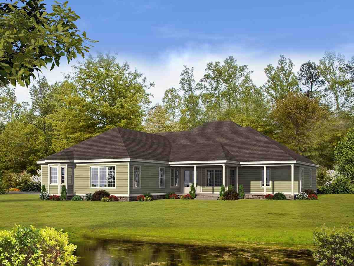 Country, Farmhouse, Ranch, Traditional House Plan 40806 with 4 Beds, 5 Baths, 3 Car Garage Rear Elevation
