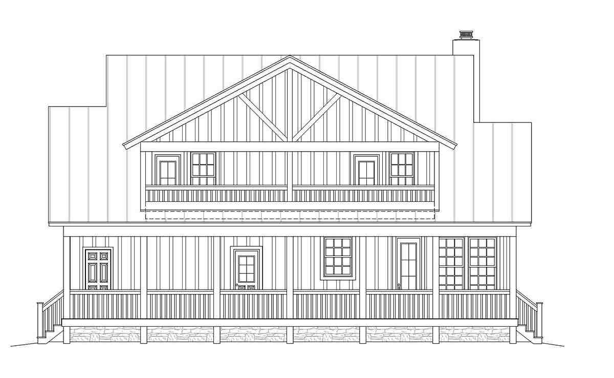 Country, Farmhouse, Traditional House Plan 40822 with 3 Beds, 4 Baths Rear Elevation