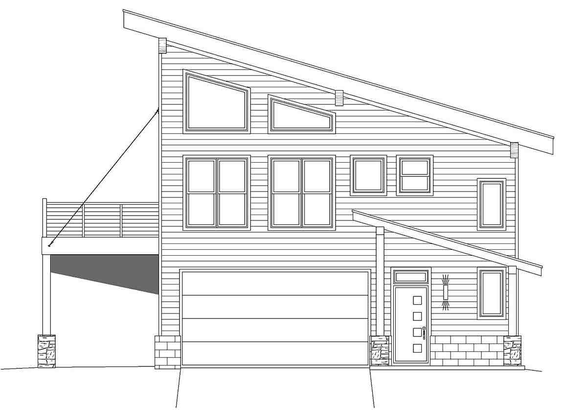 Contemporary, Modern Garage-Living Plan 40837 with 2 Beds, 2 Baths, 2 Car Garage Picture 1