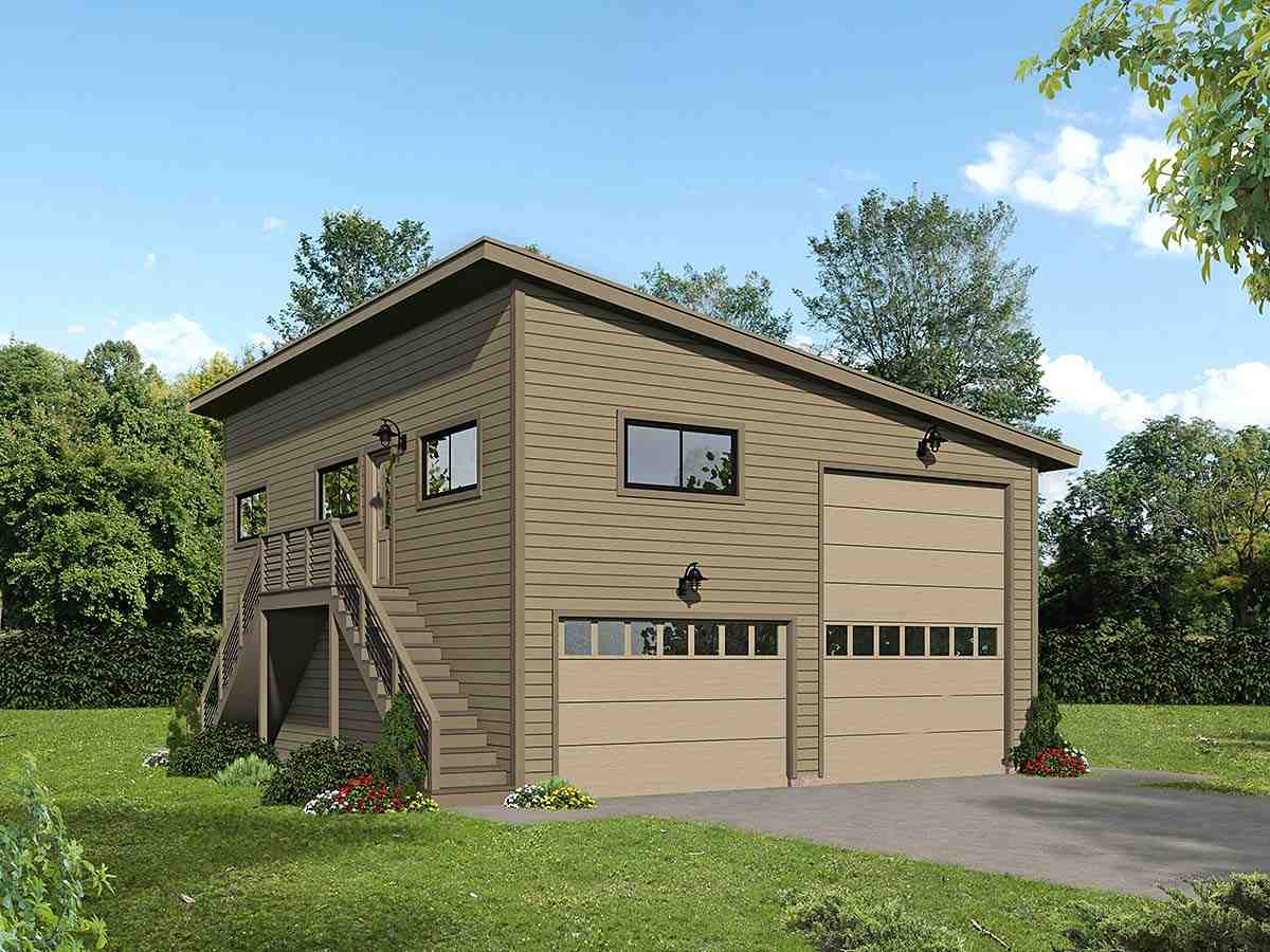 Contemporary, Modern Garage-Living Plan 40869, 2 Car Garage Elevation
