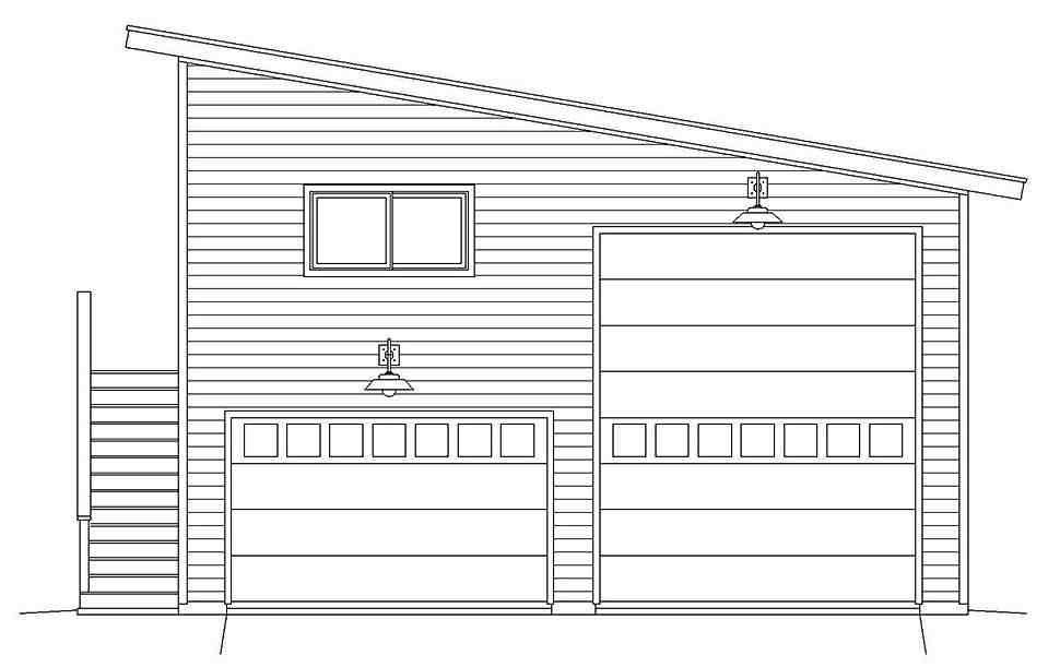 Contemporary, Modern Garage-Living Plan 40869, 2 Car Garage Picture 3