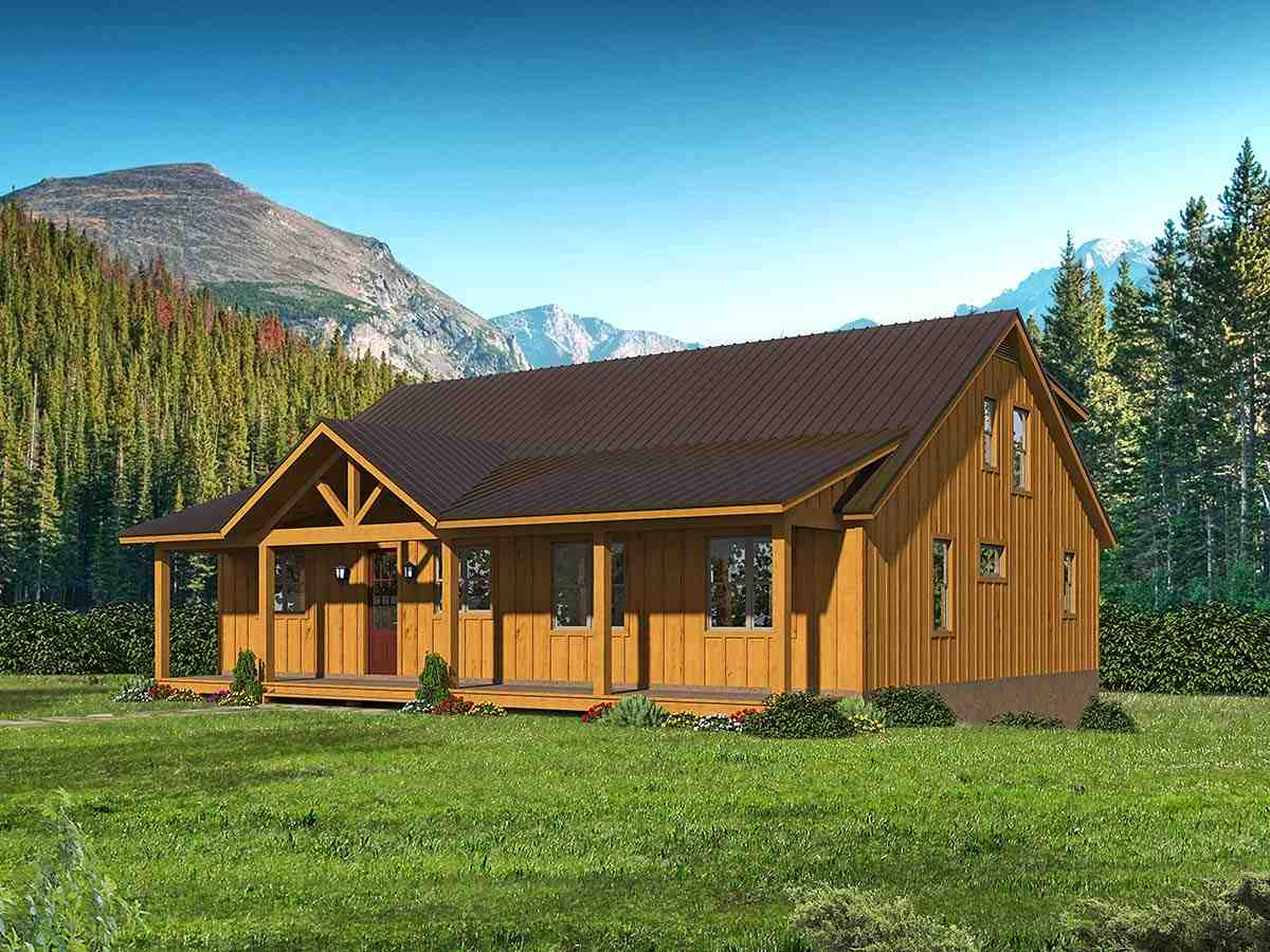 Cabin, Country, Log House Plan 40877 with 3 Beds, 3 Baths Elevation