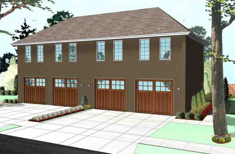 Colonial, Traditional Multi-Family Plan 41113 with 2 Beds, 2 Baths, 4 Car Garage Elevation