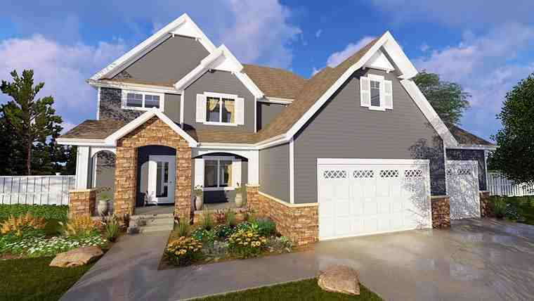 Craftsman House Plan 41146 with 4 Beds, 4 Baths, 3 Car Garage Elevation