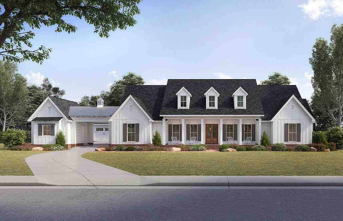 Country, Farmhouse, Traditional House Plan 41401 with 4 Beds, 4 Baths, 4 Car Garage Elevation
