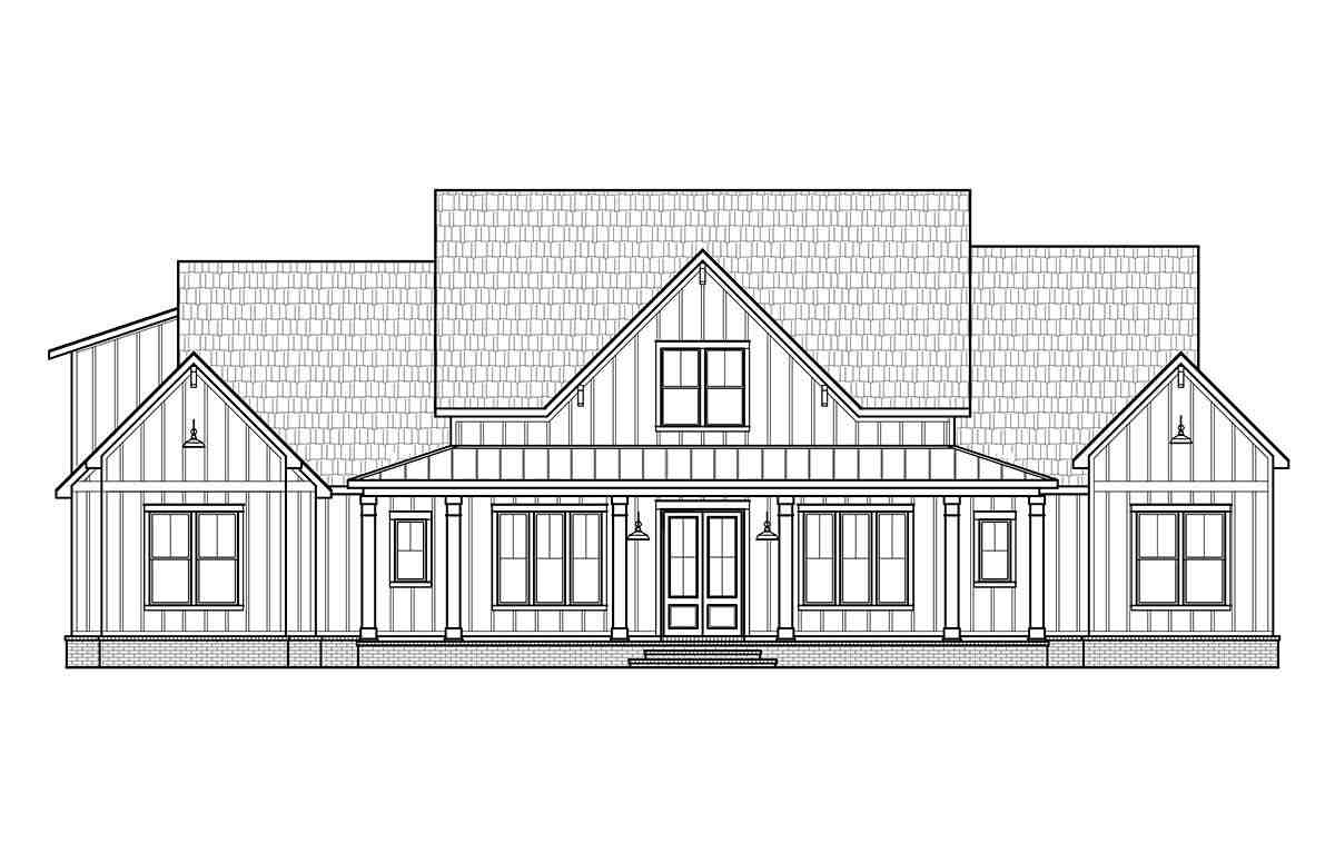 Country, Farmhouse House Plan 41419 with 4 Beds, 4 Baths, 3 Car Garage Picture 1