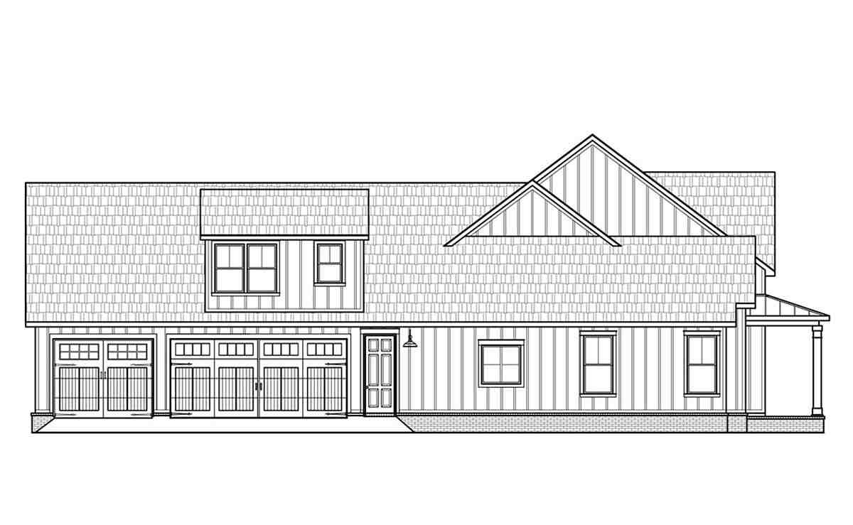 Country, Farmhouse House Plan 41419 with 4 Beds, 4 Baths, 3 Car Garage Picture 2