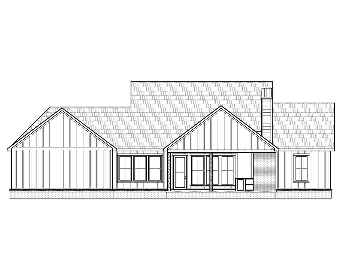 Country, Farmhouse, Southern House Plan 41424 with 4 Beds, 3 Baths, 2 Car Garage Rear Elevation