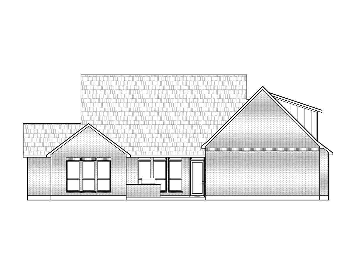 Country, Farmhouse House Plan 41426 with 4 Beds, 4 Baths, 2 Car Garage Rear Elevation