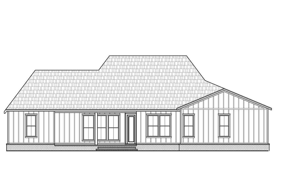 Country, Farmhouse House Plan 41428 with 3 Beds, 2 Baths, 2 Car Garage Rear Elevation