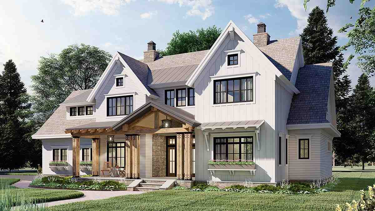 Farmhouse House Plan 41901 with 4 Beds, 4 Baths, 2 Car Garage Picture 1