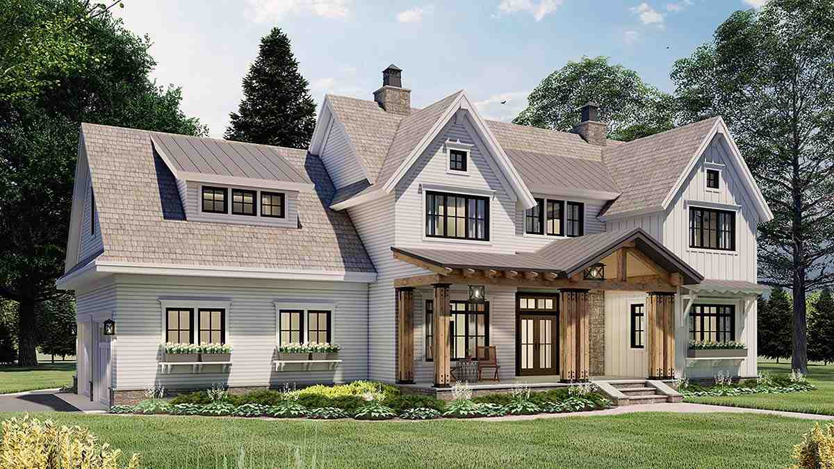 Farmhouse House Plan 41901 with 4 Beds, 4 Baths, 2 Car Garage Picture 2