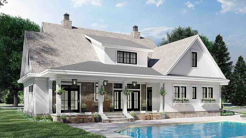 Farmhouse House Plan 41901 with 4 Beds, 4 Baths, 2 Car Garage Picture 3