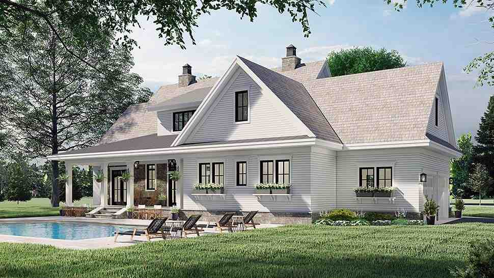 Farmhouse House Plan 41901 with 4 Beds, 4 Baths, 2 Car Garage Picture 4
