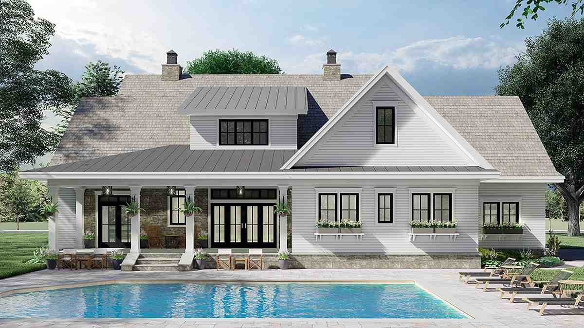 Farmhouse House Plan 41901 with 4 Beds, 4 Baths, 2 Car Garage Rear Elevation