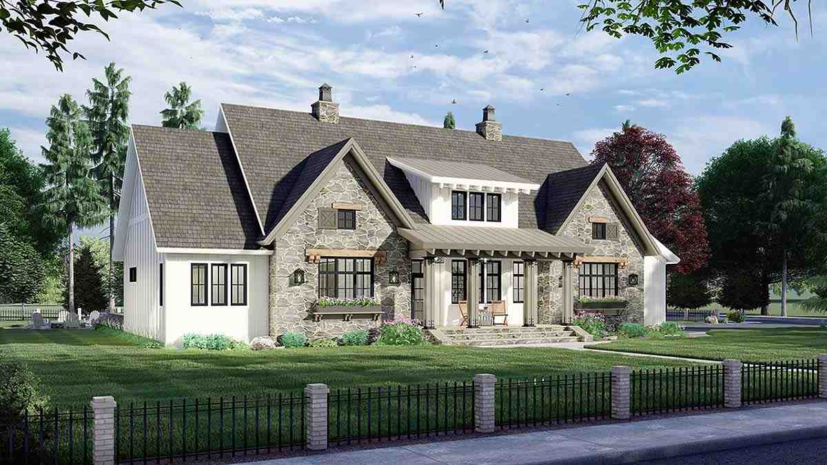 Farmhouse House Plan 41902 with 4 Beds, 4 Baths, 2 Car Garage Picture 2
