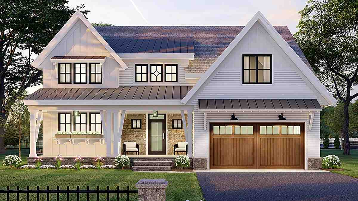 Farmhouse House Plan 41906 with 3 Beds, 3 Baths, 2 Car Garage Elevation