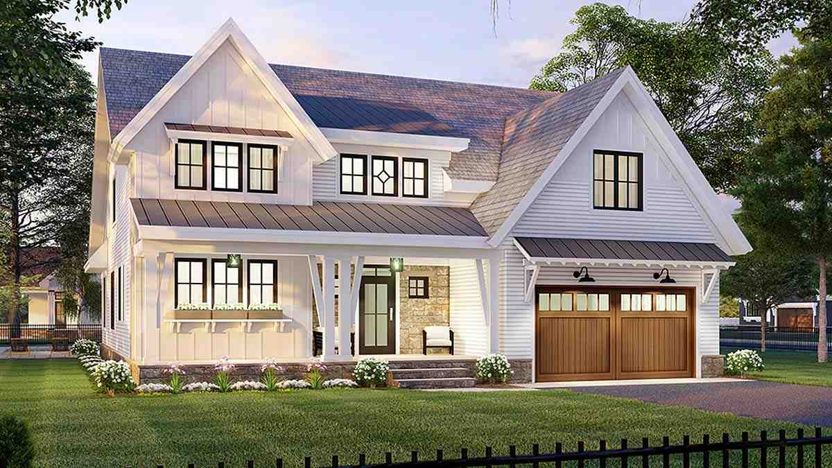 Farmhouse House Plan 41906 with 3 Beds, 3 Baths, 2 Car Garage Picture 2