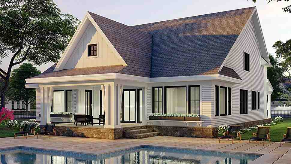 Farmhouse House Plan 41906 with 3 Beds, 3 Baths, 2 Car Garage Picture 4