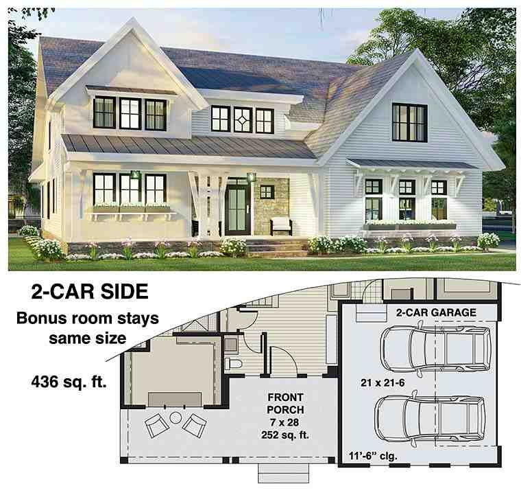Farmhouse House Plan 41906 with 3 Beds, 3 Baths, 2 Car Garage Picture 5