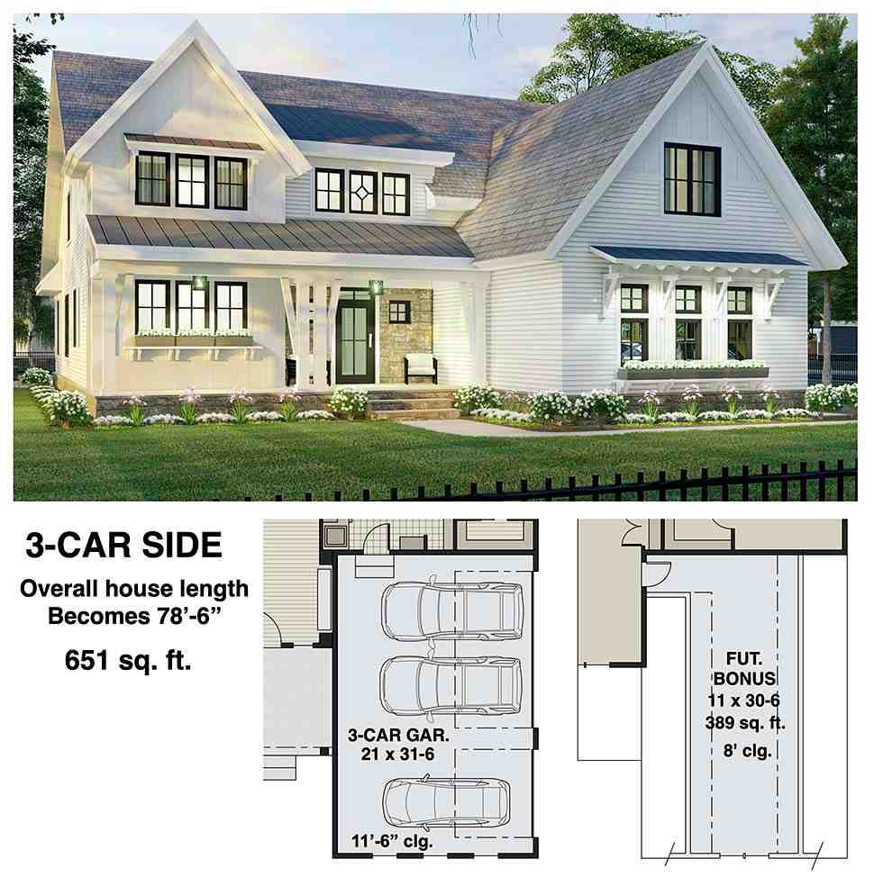 Farmhouse House Plan 41906 with 3 Beds, 3 Baths, 2 Car Garage Picture 6