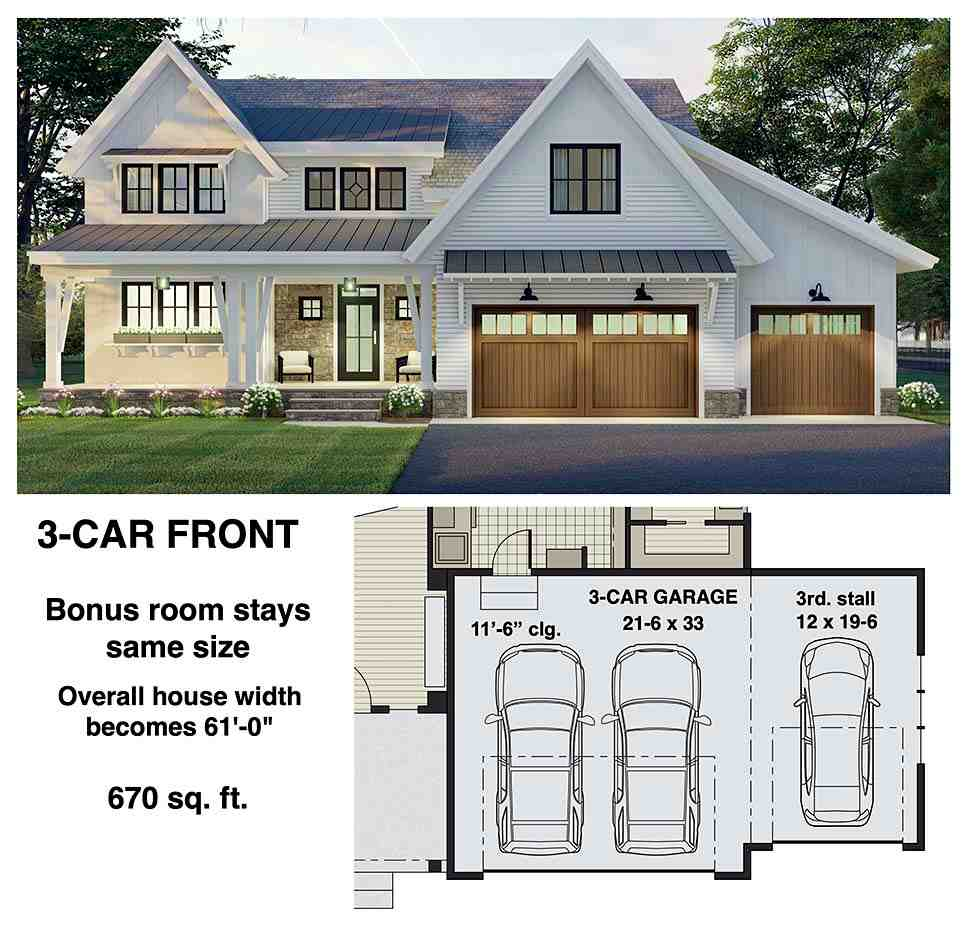 Farmhouse House Plan 41906 with 3 Beds, 3 Baths, 2 Car Garage Picture 7