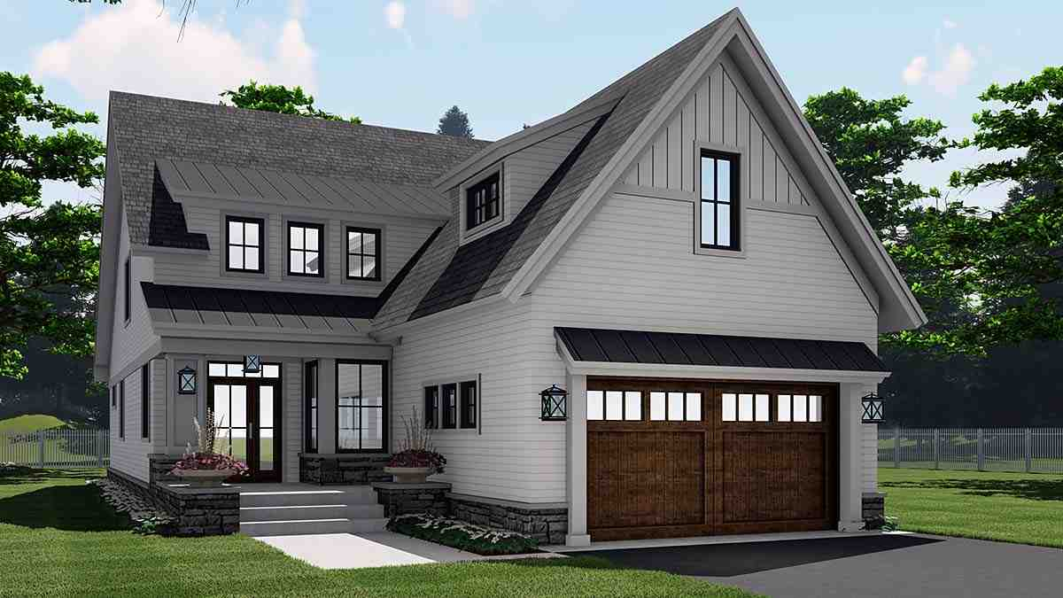 Farmhouse House Plan 41908 with 4 Beds, 3 Baths, 2 Car Garage Elevation