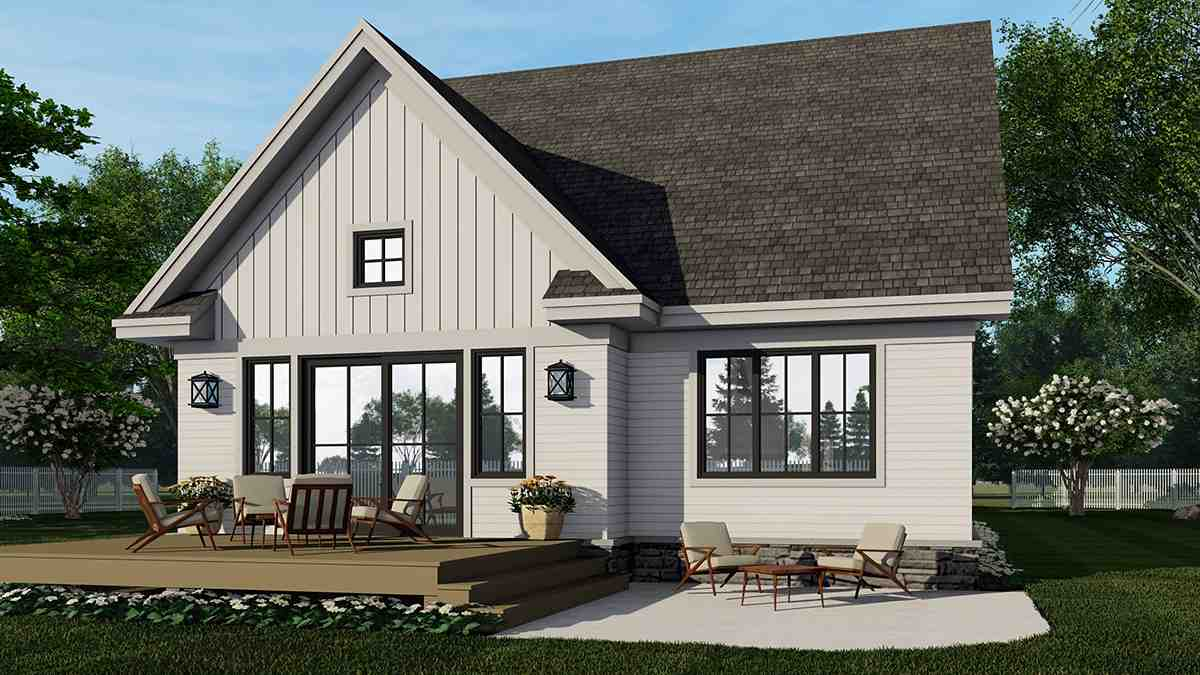 Farmhouse House Plan 41908 with 4 Beds, 3 Baths, 2 Car Garage Rear Elevation