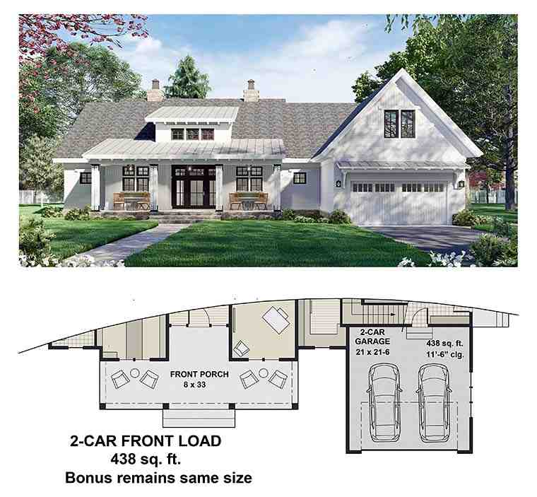 Country House Plan 41911 with 3 Beds, 3 Baths, 2 Car Garage Picture 5