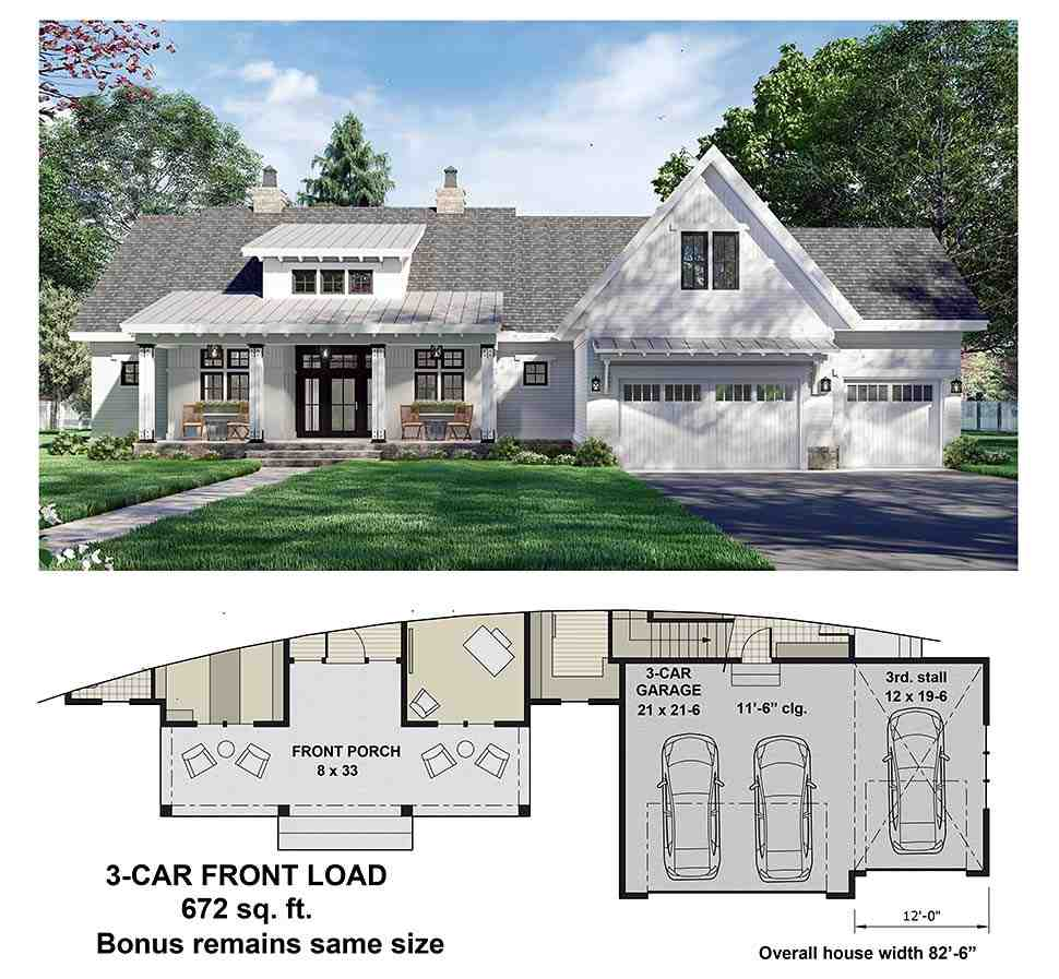 Country House Plan 41911 with 3 Beds, 3 Baths, 2 Car Garage Picture 6