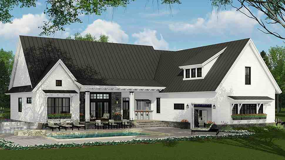 Country, Farmhouse, Traditional House Plan 42691 with 3 Beds, 3 Baths, 2 Car Garage Rear Elevation