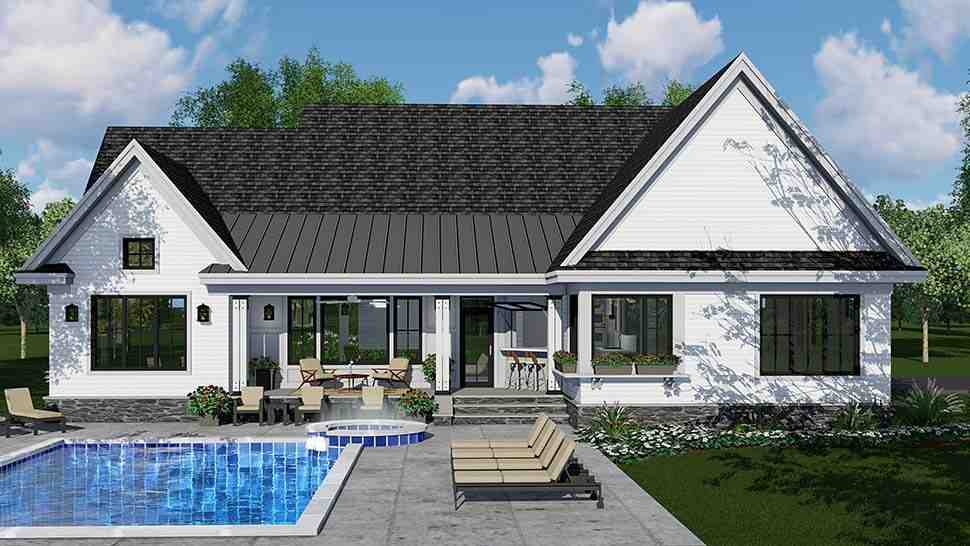Country, Craftsman, Farmhouse, Southern House Plan 42696 with 3 Beds, 3 Baths, 2 Car Garage Rear Elevation
