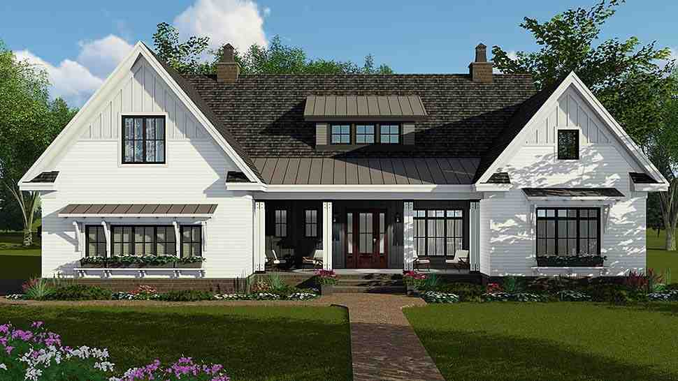 Country, Craftsman, Farmhouse House Plan 42697 with 4 Beds, 4 Baths, 2 Car Garage Elevation