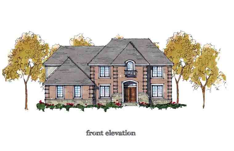 Colonial, European, Traditional House Plan 42823 with 4 Beds, 4 Baths, 3 Car Garage Elevation