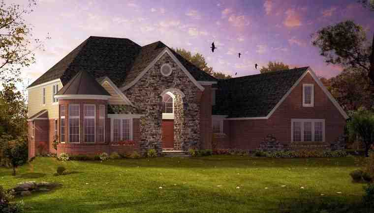 European, Traditional House Plan 42825 with 4 Beds, 4 Baths, 4 Car Garage Elevation