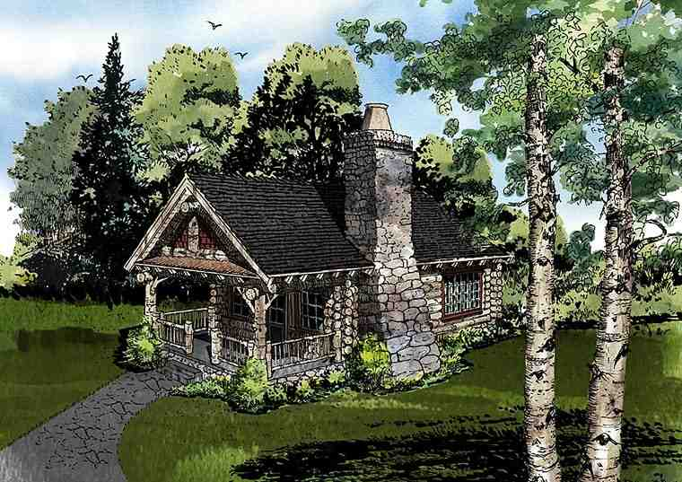 Cabin, Country, Craftsman, Log House Plan 43229 with 1 Beds, 1 Baths Elevation