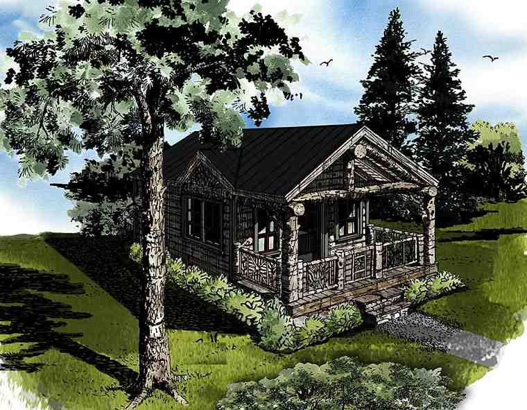 Cabin, Country, Log House Plan 43230 with 1 Beds, 1 Baths Elevation