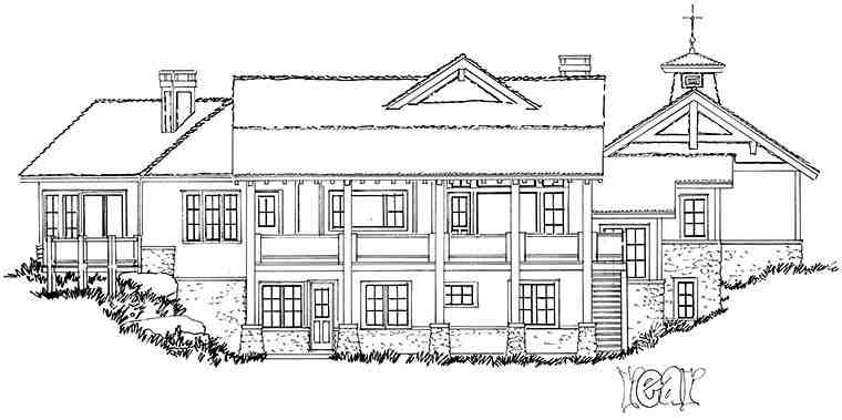 Cottage, Country, Craftsman House Plan 43238 with 3 Beds, 3 Baths, 3 Car Garage Rear Elevation