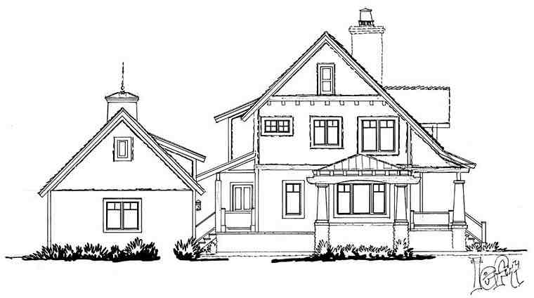 Bungalow, Cottage, Craftsman House Plan 43246 with 3 Beds, 3 Baths, 2 Car Garage Picture 2