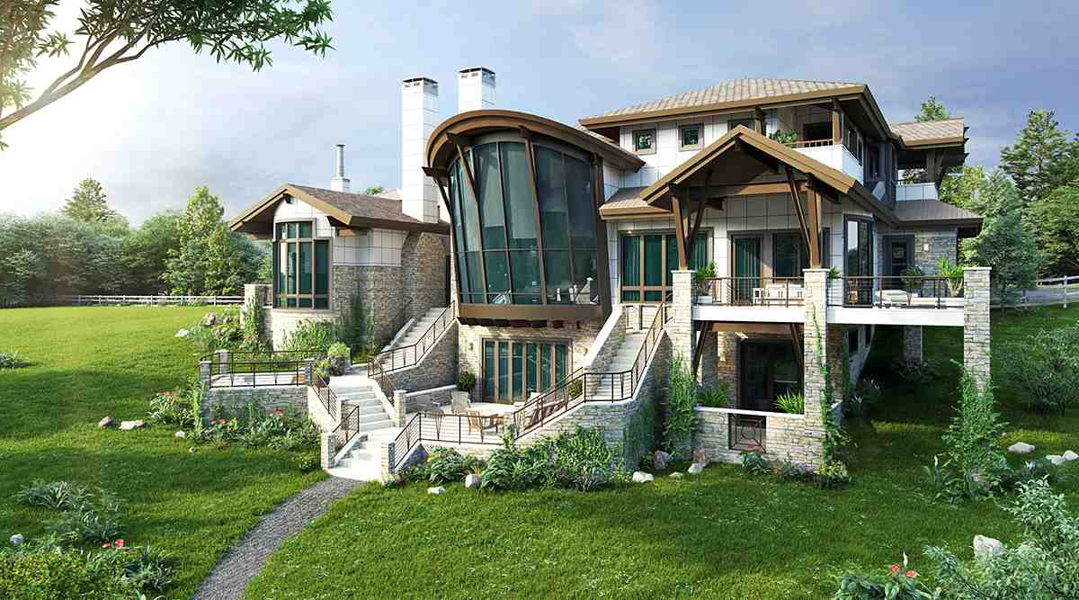 Contemporary House Plan 43248 with 4 Beds, 6 Baths, 3 Car Garage Rear Elevation