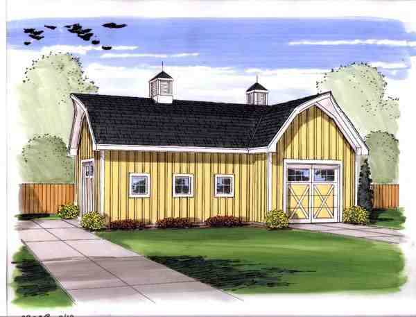 Farmhouse, Traditional 2 Car Garage Plan 44144 Elevation
