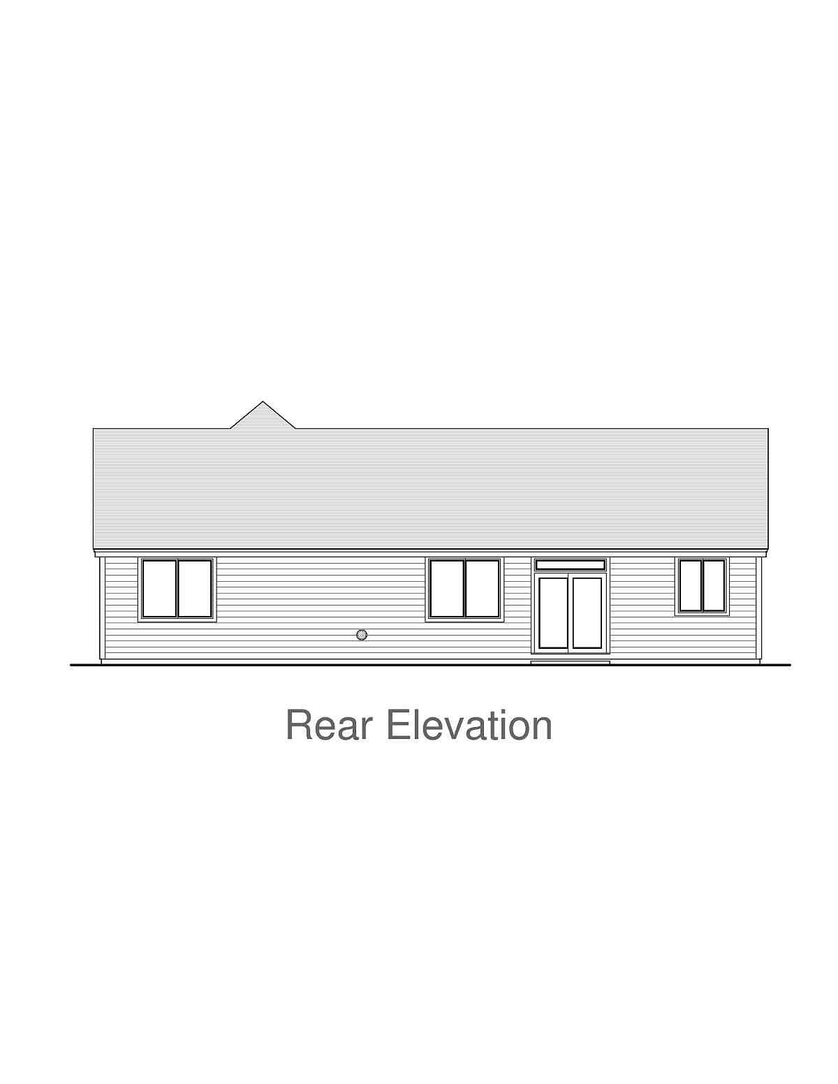 Craftsman, Ranch, Traditional House Plan 44408 with 3 Beds, 2 Baths, 2 Car Garage Rear Elevation