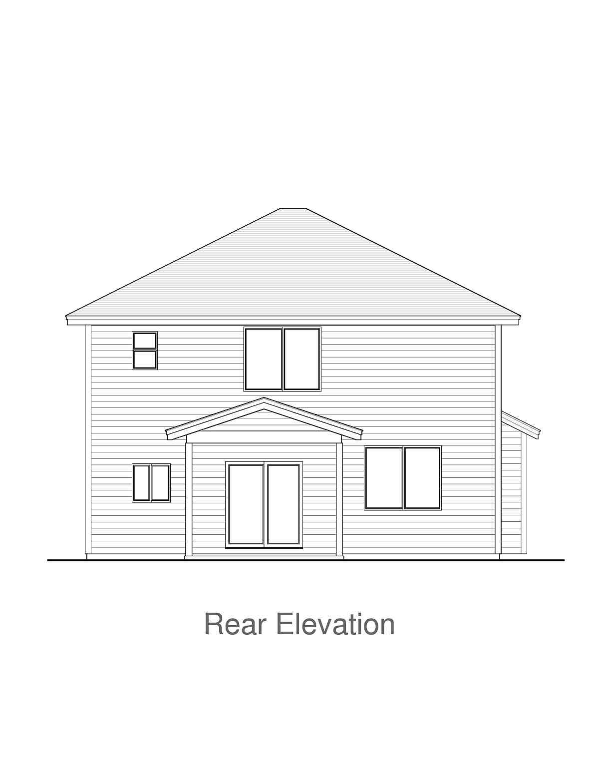 Craftsman, Traditional House Plan 44410 with 3 Beds, 3 Baths, 2 Car Garage Rear Elevation