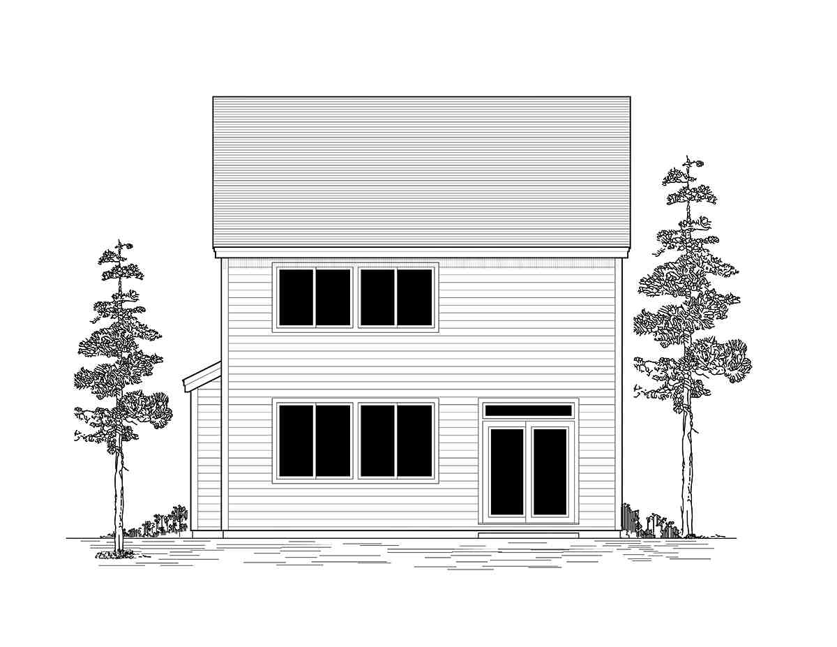 Craftsman, Traditional House Plan 44411 with 3 Beds, 3 Baths, 2 Car Garage Rear Elevation