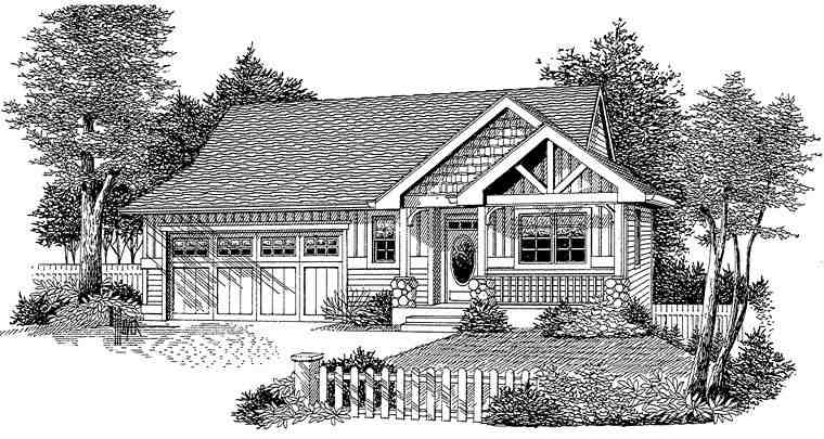Cottage, Craftsman, Ranch House Plan 44645 with 3 Beds, 3 Baths, 2 Car Garage Elevation