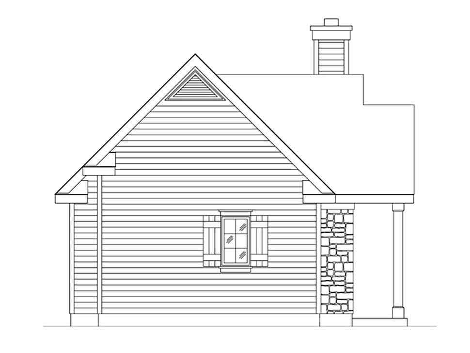 Bungalow, Cabin, Cottage, Craftsman, Narrow Lot, One-Story House Plan 45166 with 1 Beds, 1 Baths Picture 2