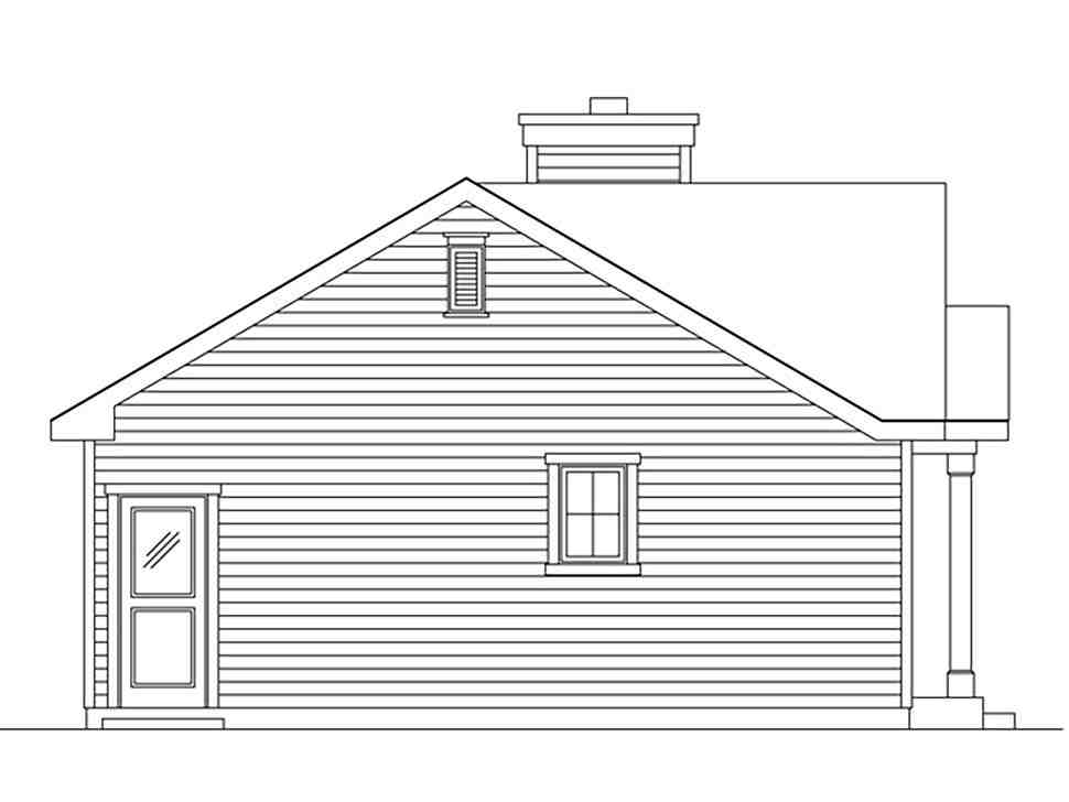 Bungalow, Cabin, Cottage, Narrow Lot, One-Story House Plan 45167 with 1 Beds, 1 Baths Picture 2