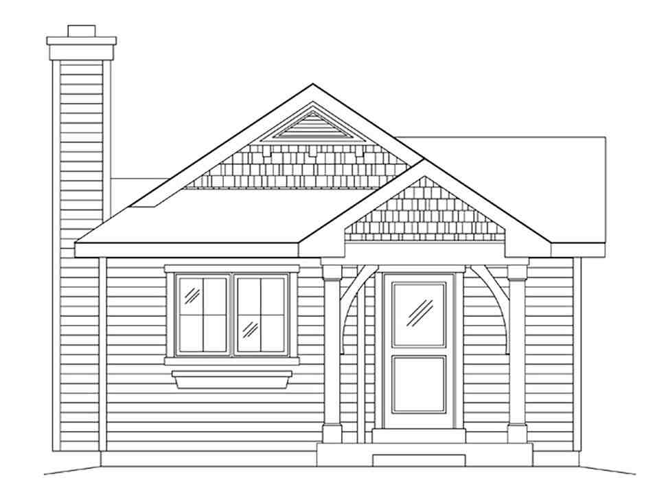 Bungalow, Cottage, One-Story House Plan 45169 with 1 Beds, 1 Baths Picture 3