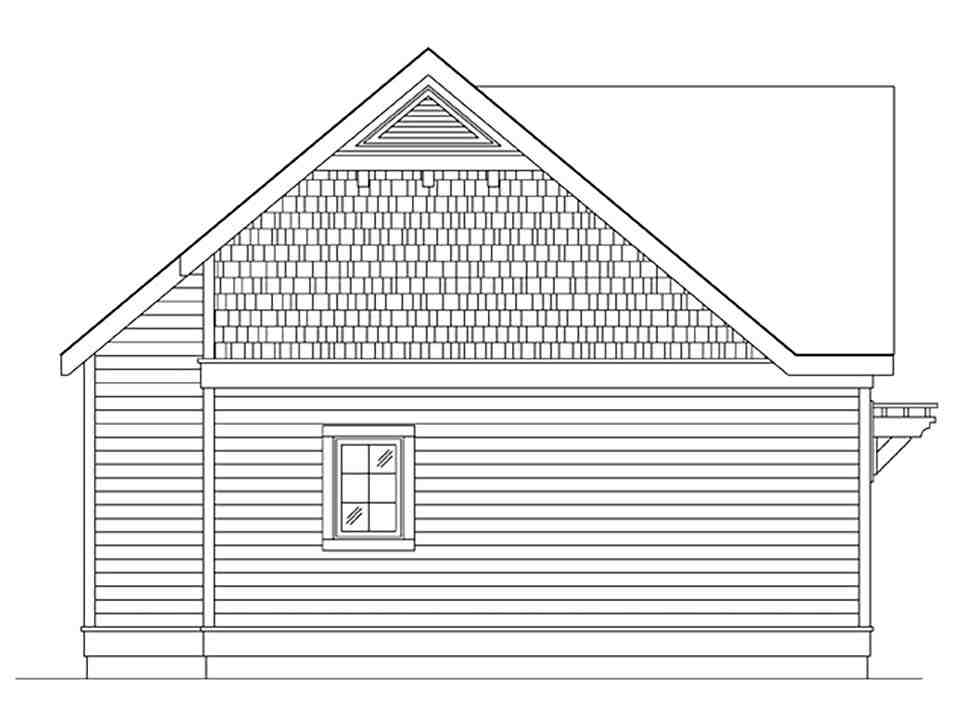 Cottage, Narrow Lot, One-Story House Plan 45184 with 1 Beds, 1 Baths Picture 2