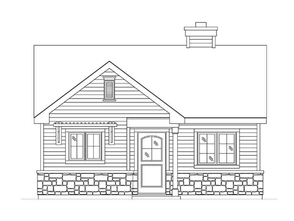 Bungalow, Cottage, Narrow Lot, One-Story House Plan 45185 with 1 Beds, 1 Baths Picture 3